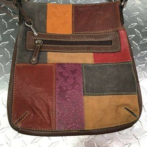 Fossil Patchwork Leather Brown Vintage Purse